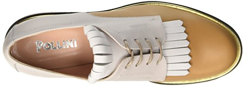 Pollini 865, Zapatos de Cordones Brogue para Mujer Multicolore (Hide Calf-White Calf-Iceberg Calf Platinum-Stone-Powder Sole)