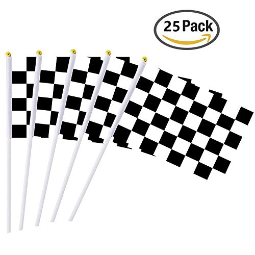 - 25 Pieces Checkered Flag 8 x 5.5 Inch Racing Polyester Flags on Plastic Stick, Black & White Checkered Flag Racing Pennant Banner Flags, Decorations Supplies For Racing, Race Car Party, Sport Events
