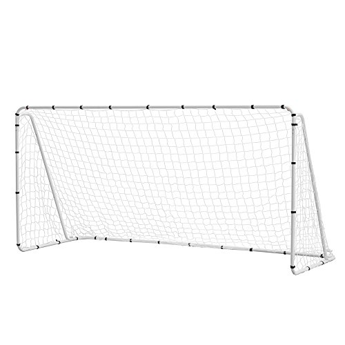 Woodworm 12' x 6' portable quick setup steel soccer goal for home, clubs & coaches - net & ground pegs included