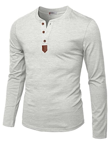 (H2H Mens Casual Slim Fit Basic Henley Long Sleeve T-Shirt Heatherwhite US XL/Asia 2XL (CMTTL0103))
