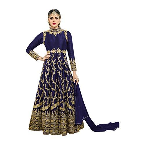 (Blue Bollywood Bridal Wedding Festival Special Silk Long Dress Anarkali Suit Dupatta Lehenga Choli Indian Muslim 7192)