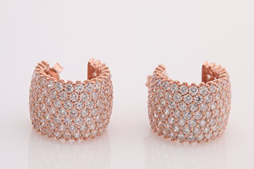 - 7 Lines Row High Quality Turkish Jewelry White Topaz Rose Gold 925 Sterling Silver Hoop Earrings
