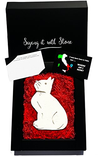 Guardian Cat - Protecting your Loved Ones ❤ Original Gift Idea - Elegant gift box with blank message card - Rare Italian stone contains fossil fragments - birthday anniversary retirement (West Highland Terrier Poodle)