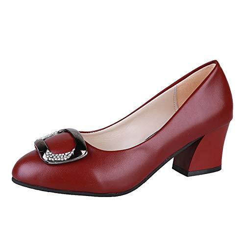 Chunky Basic Mujer Black Heel Zapatos Round Wine Poliuretano Pump Toe Beige Beige de Fall Tacones ZHZNVX PU HwYqOEwz