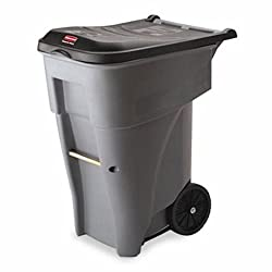 Rubbermaid Commercial Products Brute Rollout Wasteutility Container, 65-gallon, Gray (Fg9w2100gray)