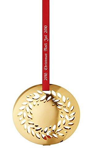 (Georg Jensen 3410216 Annual Christmas Ornament 2016, Magnolia Wreath (Gold Plated))