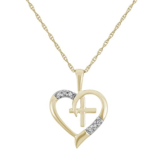 - 0.04 CTTW 10KT Yellow Gold Diamond Heart with Cross Necklace
