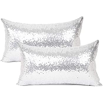 Luxury Two Tone Sequence Black and Silver Cushion Cover with Inner Pad