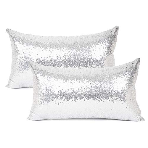 YOUR SMILE Pack of 2, New Luxury Series Silver Decorative Glitzy Sequin & Comfy Satin Solid Throw Pillow Cover Cushion Case for Wedding/Christmas,12