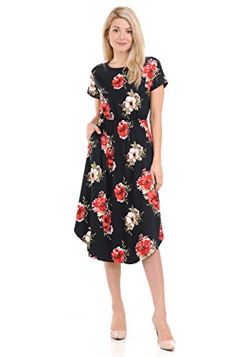 iconic luxe Women's Short Sleeve Flare Midi Dress With Pockets Medium Floral Black Red