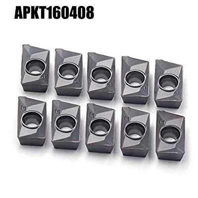 OSCARBIDE Carbide Inserts APKT160408 Indexable Milling Insert APKT Style,Uncoated (Bright) Finish, 10pcs
