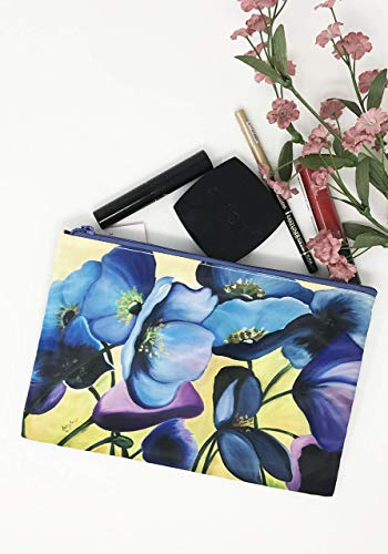 Cosmetic Makeup Bag Zippered Glam Bag Blue Flowers Floral Large Purse Phone Case Pencil Holder Travel Satchel