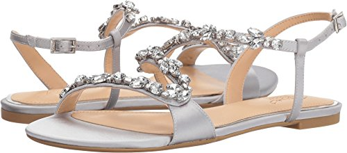 Badgley Mischka Jewel Women's Gamble Flat Sandal, Silver, 8.5 Medium US