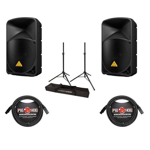 Behringer 2 Pack EUROLIVE B112D High-Power 2-Way Active PA Speaker System with Wireless Option and Integrated Mixer, 2 Pack 15