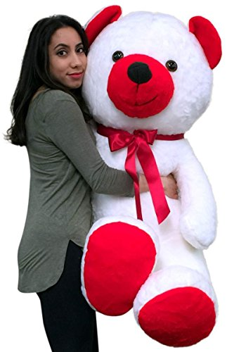 American Made 5 Foot Giant Teddy Bear Soft Red and White 60 Inch Big Plush Valentine (Large White Teddy Bear 5 Feet compare prices)