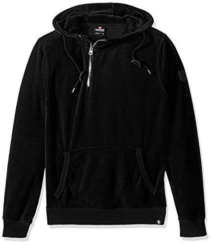 - Southpole Men's Long Sleeve Pull Over Hooded Fleece in Premium Solid Velour, Black, Large