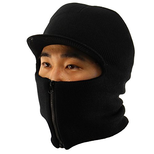Winter Men's Visor 2ply Knit Zipper Up Zip Face Mask Balacla