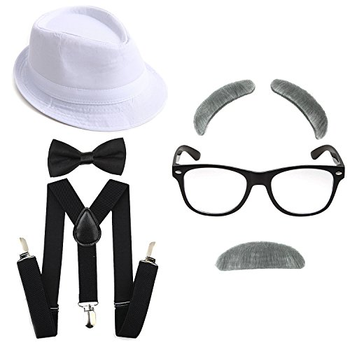 1920s Boys Gangster Costume Set - Short Brim Fedora Hat,Adjustable Suspenders with Pre-Tied Bow Tie, Old Man Eyebrows & Moustache,Nerd Fake Glasses for Kids & Child(White Hat & Black Suspenders)