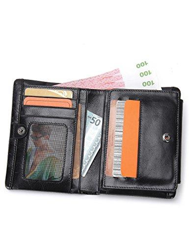 Contacts Echtes Leder-Kreditkarte -Kasten-Hülsen-Halter-Münzen-Tasche Short Wallet Schwarz I7zXT