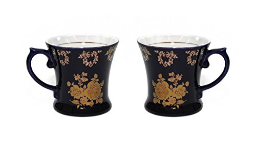 - Royalty Porcelain Tea Cup/Mug, 24K Gold Czech Porcelain (2, Cobalt Blue Floral Gold)