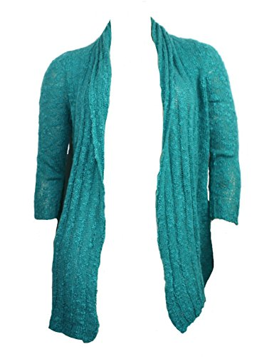 Fever Sheer Knit Open Cardigan (Bali Turquoise, Medium)