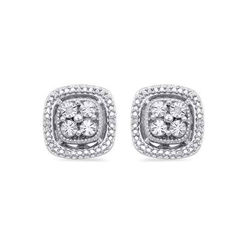 Jewelili Sterling Silver Natural White Diamond Accent Cushion Earrings