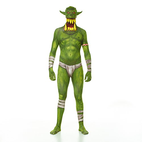 "[Green Orc Jaw Dropper Morphsuit Monster Fancy Dress Costume - size Xlarge - 5""10-6""1] (Green Morphsuit)"
