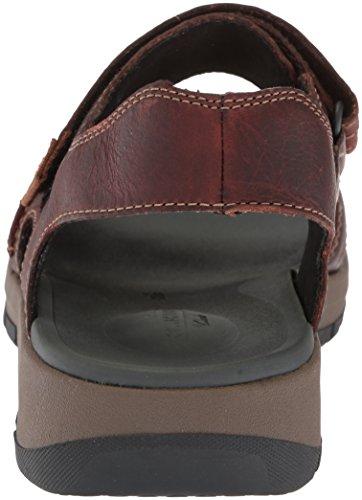 CLARKS Mens Brixby Shore Sandal Dark Brown Leather SXecuo