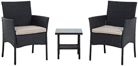 FDW Wicker Patio Furniture 3 Piece Patio Set Chairs Bistro Set Outdoor Rattan Conversation Set