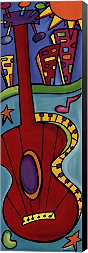 Rockabilly Rep Music by Sonya Paz Canvas Art Wall Picture, Museum Wrapped with Black Sides, 12 x 36 - Museum Rockabilly
