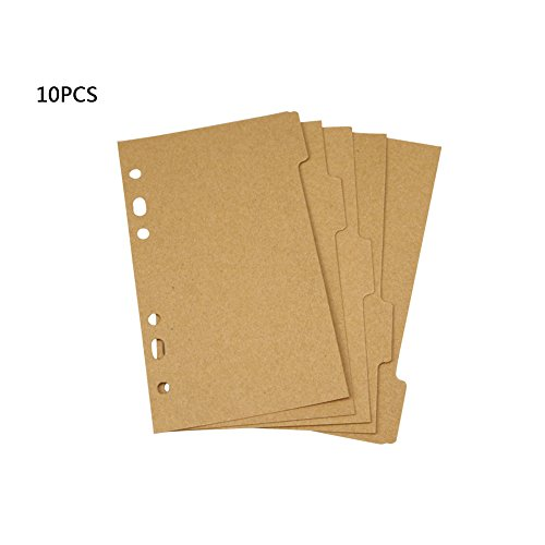 Whthteey - Separador de índice de papel, 10 unidades, 6 agujeros, para cuaderno de notas y carpetas de planificador, Caqui,...