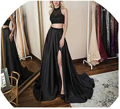 90c8fd68e1 mimi forever Two Piece Prom Dress high Neck Crystal Evening Dress Pageant Dress  Formal Party Dress