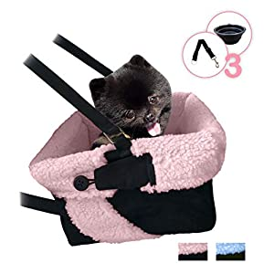 Pink and Black Cozy Boost with Clip On Leash- Premium Quality Dog Booster Seat and Collapsible Dish for Small and Medium Dogs, Puppies, and Pets Up to 20 lbs 105
