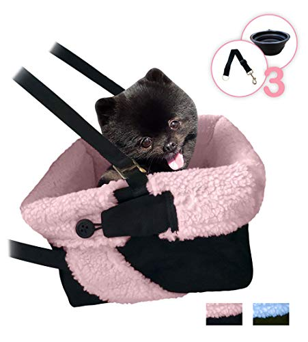 (Pink & Black Cozy Boost with Clip On Leash- Premium Quality Dog Booster Seat and Collapsible Dish for Small and Medium Dogs, Puppies, and Pets Up to 20 lbs)