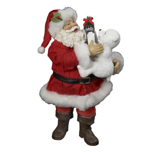 Coca-Cola Kurt Adler Coke Santa with Polar Bear Table Piece, 10-Inch