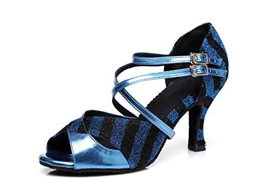 Sandals Blue Dancing 4 5 Evening Ankle Women's Fashion Strap Ballroom Shoes MINITOO Latin UK nBq0SvYxw