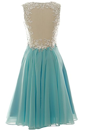 MACloth V Neck Beaded Lace Short Bridesmaid Dress Formal Evening Prom Gown Menta