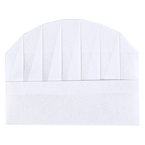 Chef Hats – 24-Pack Disposable White Paper Chef Toques, Chef Supplies, Adjustable Professional Kitchen Chef Caps for Baking, Culinary Hygiene, Cooking Safety, 20-22 Inches in Circumference by Juvale (Image #2)