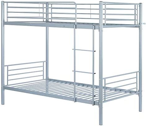 Bonnlo Metal Twin Over Twin Bunk Bed Non-Slip Flat Step