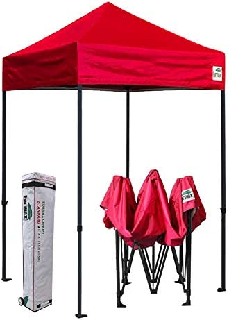 Eurmax 5×5 Ez Pop up Canopy Outdoor Heavy Duty Instant Tent Pop-up Canopies Sun Shelter with Deluxe Wheeled Carry Bag Red