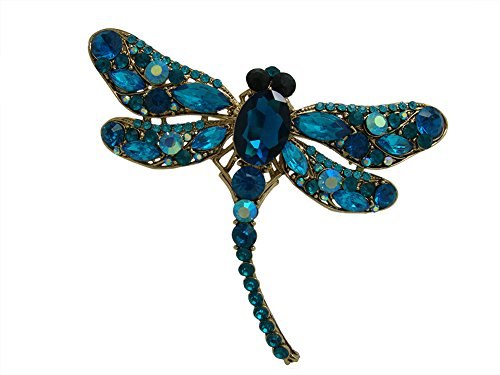 Austrian Crystal Dragonfly Pin - TTjewelry Elegant Dragonfly Bird Brooch Pin Austrian Crystal Rhinestone Animal Party Jewelry (Blue)