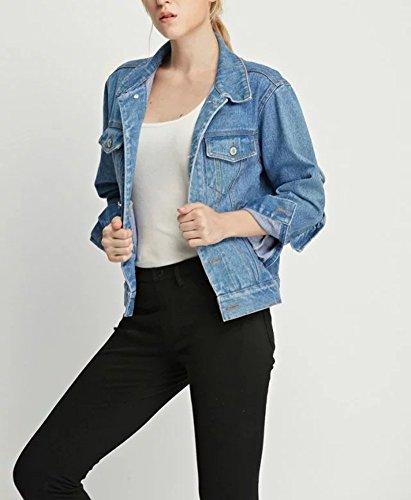 Damen Denim Jacket Girlfriend-Jeansjacke Kurze in verwaschenem Rosa mit Rüschenbesatz hinten Hellblau QuN98JM