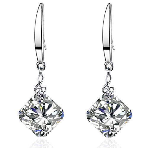 Sephla White Gold Plated 12mm Square Shape Naked Drill Super Sparkle Crystal Dangle Earrings For Women (Square White)
