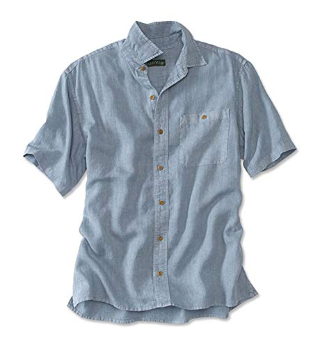 Orvis Men's Hemp/Tencel Short-Sleeved Shirt/Hemp and Tencel Short-Sleeved Shirt, Blue/Gray, X Large
