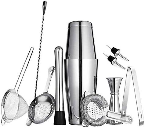 11-teiliges Boston Cocktail Shaker Set für professionelle Bartender und Home Bar: 2 gewichtete Shaker Dosen, Sieb-Set, Messbecher, Eisstößel & Zange, Rührlöffel und 2 Likörausgießer silber