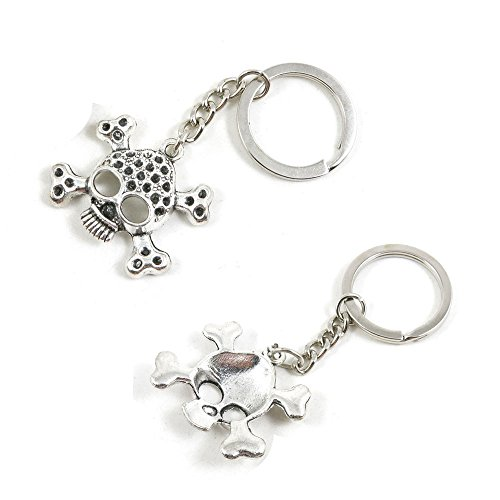 100 PCS Skull Keychain Keyring Jewelry Making Charms Door Car Key Tag Chain Ring E3OQ1L by ChinaTownUS