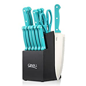 Ginsu Essential Series 14-Piece Stainless Steel Serrated Knife Set – Cutlery Set with Teal Kitchen Knives in a Black Block, 03886OTDS