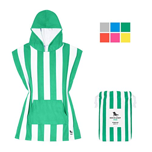 Dock & Bay Kids Poncho Microfibre Hooded Towel - Cancun Green, Toddlers (2-3 Years) - Hooded Changing Robe Swim Poncho, Quick Dry & Compact - Microfibre Trek Towel