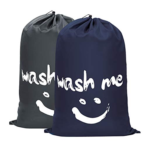 WOWLIVE 2 Pack Extra Large Travel Nylon Laundry Bag Set Storage Sturdy Rip-Stop Machine Washable Locking Drawstring Closure Heavy Duty Bag Hamper Liner 24x36 inches(Dark Blue and Grey)