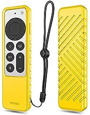 SITHON Siliconen hoesje voor Apple TV 4K 2021 afstandsbediening, lichtgewicht schokbestendige anti-slip beschermhoes met Lanyard Strap voor Apple TV 4K / HD Siri Remote (2e generatie), (geel)